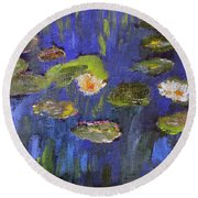 Round Beach Towel featuring the painting Tribute To Monet by Michael Helfen