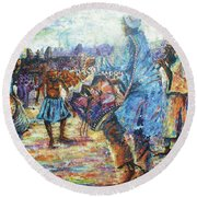 Tribute To The Royal Fathers Round Beach Towel by Bankole Abe