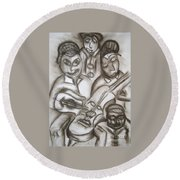 Tribute To The String Bass Round Beach Towel