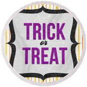 Trick Or Treat- Art By Linda Woods Round Beach Towel