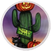 Trick Or Treat Cactus Round Beach Towel