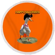 Trick Or Treat For Cap'n Duck Round Beach Towel