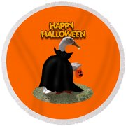 Trick Or Treat For Count Duckula Round Beach Towel