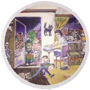 Trick Or Treat On Exeter Street Round Beach Towel