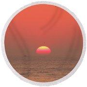 Tricolor Sunrise Round Beach Towel