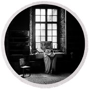 Tridentine Mass In An Ancient Chapel In The Old Dominican Monastery In Tallinn Round Beach Towel