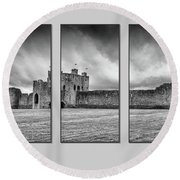 Trim Castle Triptych  Round Beach Towel