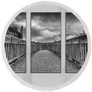 Trim Triptych 3 Round Beach Towel