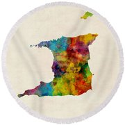 Trinidad And Tobago Watercolor Map Round Beach Towel