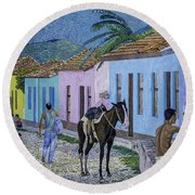 Trinidad Lifestyle 28x22in Oil On Canvas  Round Beach Towel