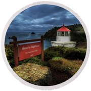 Round Beach Towel featuring the photograph Trinidad Memorial Lighthouse by James Eddy