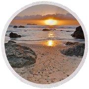 Trinidad State Beach Sunset Round Beach Towel