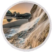 Trinidad Tidal Waterfall Round Beach Towel