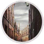 Round Beach Towel featuring the photograph Trinity Lane Cambridge by Gill Billington