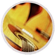 Trio Of Acoustic Guitars Round Beach Towel