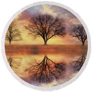 Round Beach Towel featuring the mixed media Trio Of Trees by Lori Deiter