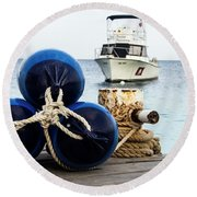Triple Bumpers Round Beach Towel by Jean Noren