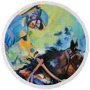 Triple Crown Champion American Pharoah Round Beach Towel by Donna Tuten