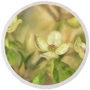 Round Beach Towel featuring the digital art Triple Dogwood Blossoms In Evening Light by Lois Bryan