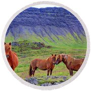 Round Beach Towel featuring the photograph Triple Horses by Scott Mahon