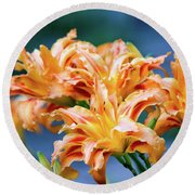Triple Lilies Round Beach Towel by Linda Segerson