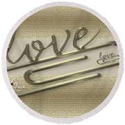 Triple Love Round Beach Towel