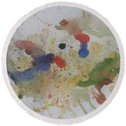 Round Beach Towel featuring the painting Triple Rooster Race by Vicki  Housel