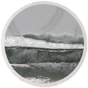 Round Beach Towel featuring the photograph Triple Wave Action by Holly Ethan