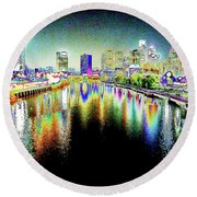 Tripping Across The South Street Bridge Round Beach Towel