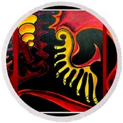 Round Beach Towel featuring the painting Triptych Abstract Vision by Jolanta Anna Karolska