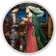 Tristan And Isolde With The Potion Round Beach Towel