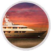 Round Beach Towel featuring the photograph Triton Yacht by Aaron Berg