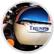 Triumph Motorcyle Round Beach Towel by Andy Crawford