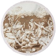 Triumph Of Pan Round Beach Towel