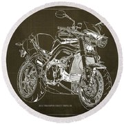 Triumph Street Triple R, 2014 Motorcycle Blueprint Brown Background Gift For Dad Round Beach Towel