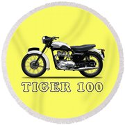 Triumph Tiger 110 1959 Round Beach Towel