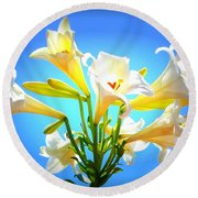 Triumphant  Easter Lilies Round Beach Towel