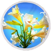 Triumphant  Easter Lilies Round Beach Towel