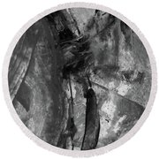 Trojan Horse - Black And White Vertical Painting Round Beach Towel