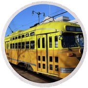 Trolley Number 1052 Round Beach Towel by Steven Spak