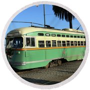Trolley Number 1058 Round Beach Towel by Steven Spak