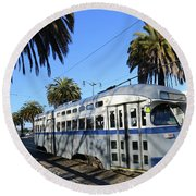 Trolley Number 1070 Round Beach Towel by Steven Spak