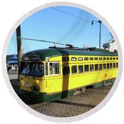 Trolley Number 1071 Round Beach Towel by Steven Spak