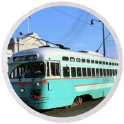 Trolley Number 1076 Round Beach Towel by Steven Spak