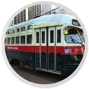 Trolley Number 1077 Round Beach Towel by Steven Spak