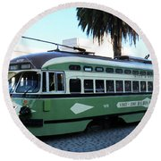 Trolley Number 1078 Round Beach Towel by Steven Spak