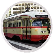 Trolley Number 1079 Round Beach Towel by Steven Spak