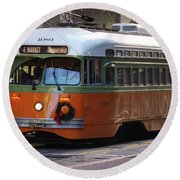 Trolley Number 1080 Round Beach Towel by Steven Spak
