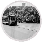 Round Beach Towel featuring the photograph Trolley With Cloisters by Cole Thompson