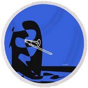 Trombone In Blue Round Beach Towel by David Bridburg